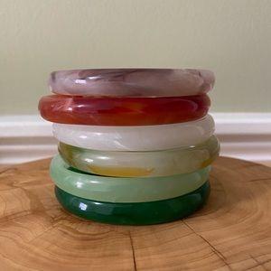 Set of six glass bangle bracelets